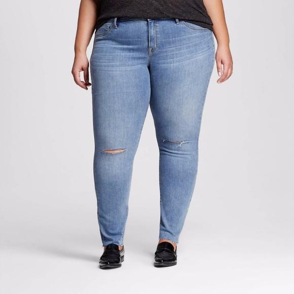 3a572c46310891 Ava & Viv Jeans | Plus 26w Distressed Jean Cutoff Knee Jegging Denim ...